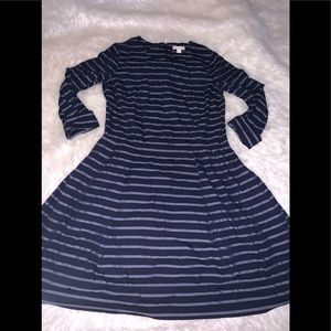 Blue stripes fit flare short dress 0 gap